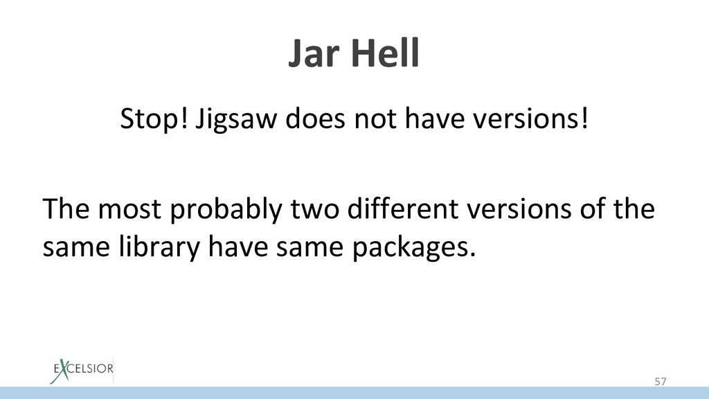 Jar Hell Stop! Jigsaw does not have versions! T...