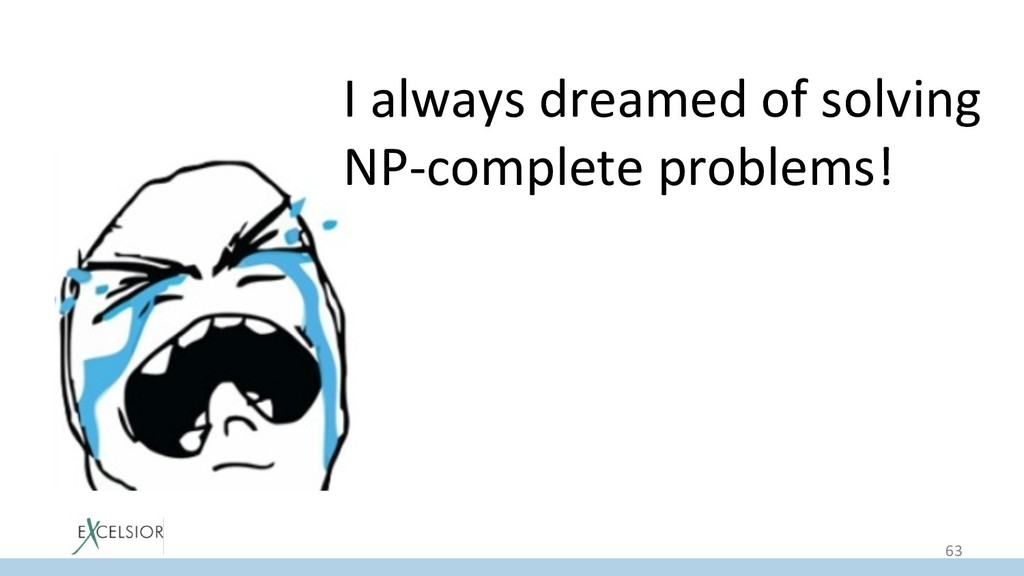 I always dreamed of solving NP-complete problem...