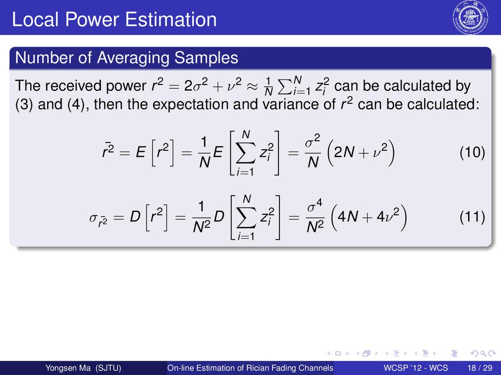 Local Power Estimation Number of Averaging Samp...