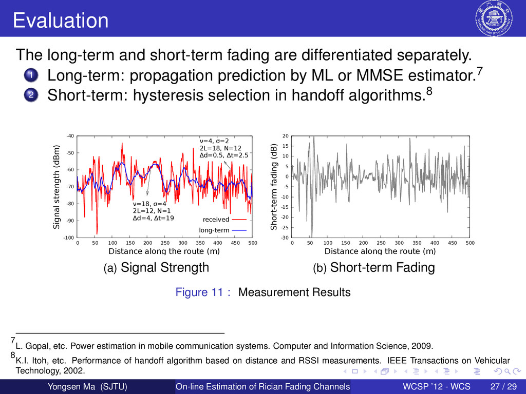 Evaluation The long-term and short-term fading ...