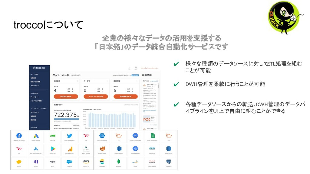 troccoについて 企業の様々なデータの活用を支援する 「日本発」のデータ統合自動化サービス...