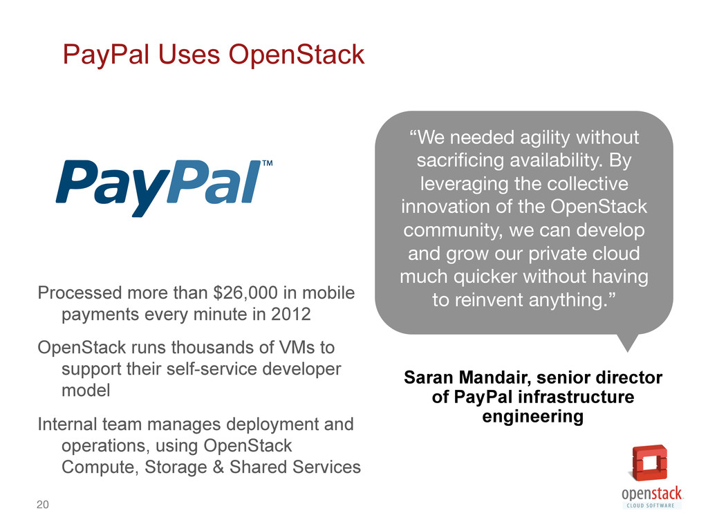 20 PayPal Uses OpenStack Processed more than $...