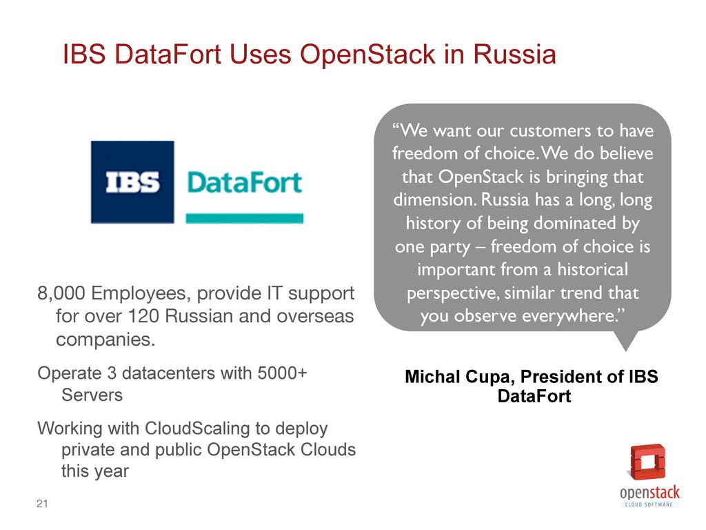21 IBS DataFort Uses OpenStack in Russia 8,000...