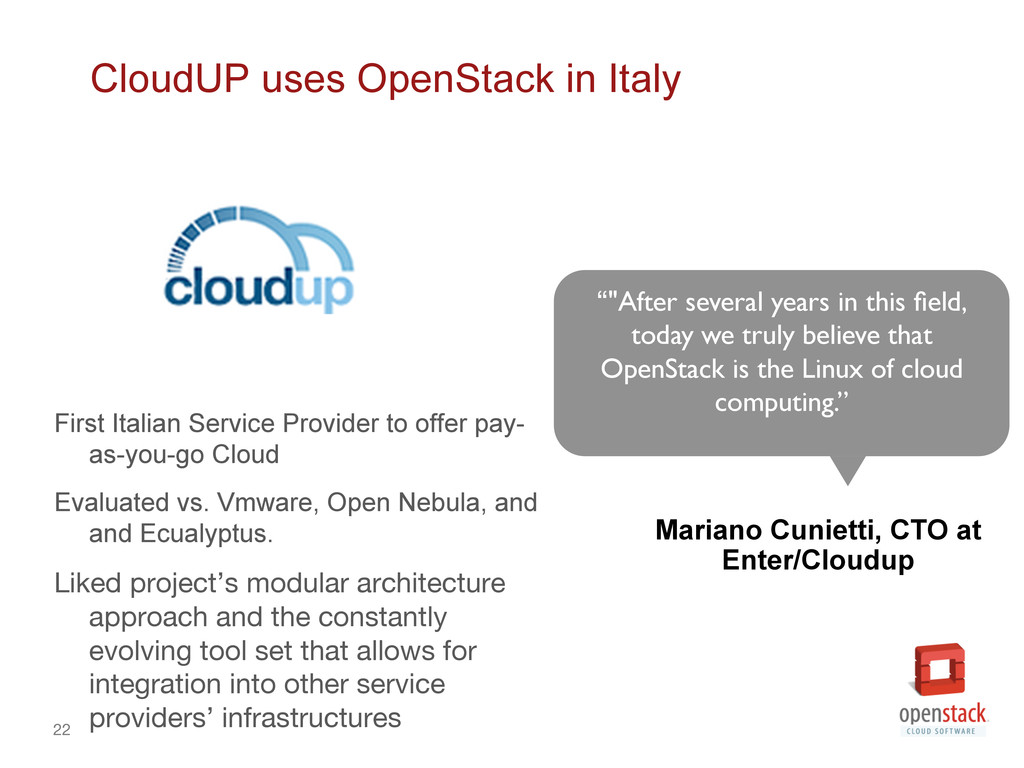 22 CloudUP uses OpenStack in Italy First Itali...