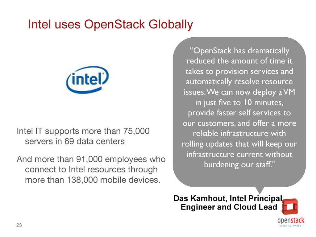 23 Intel uses OpenStack Globally Intel IT supp...