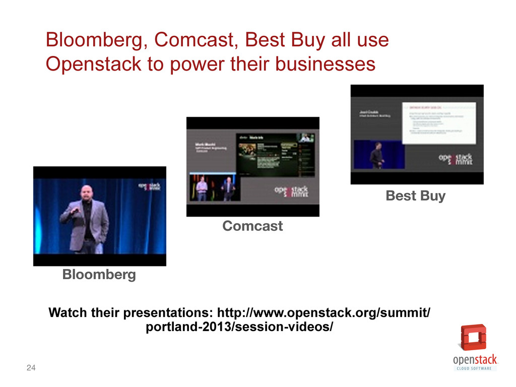 24 Bloomberg, Comcast, Best Buy all use Openst...