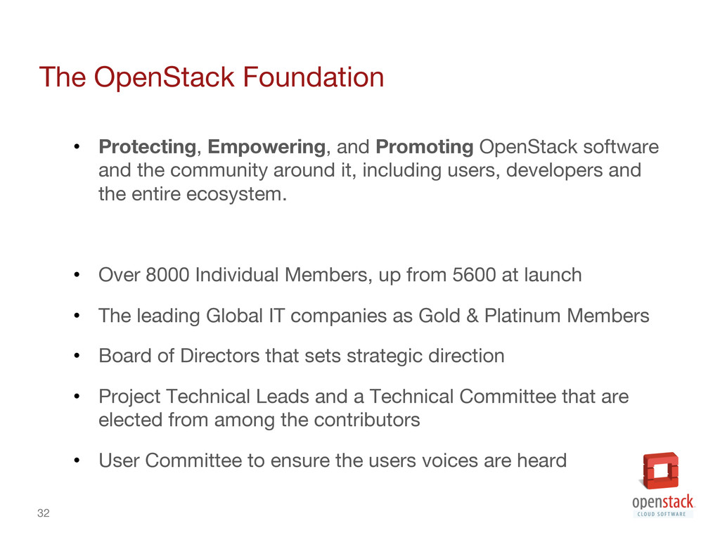 32 The OpenStack Foundation • Protecting, Em...