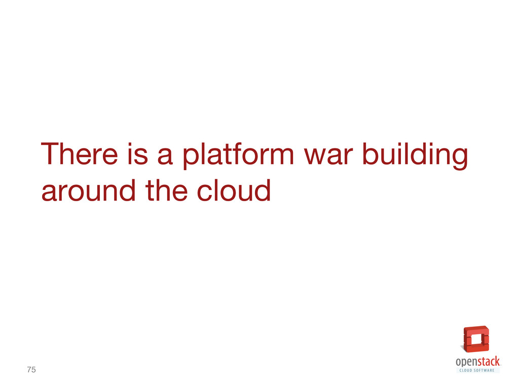 75 There is a platform war building around the...
