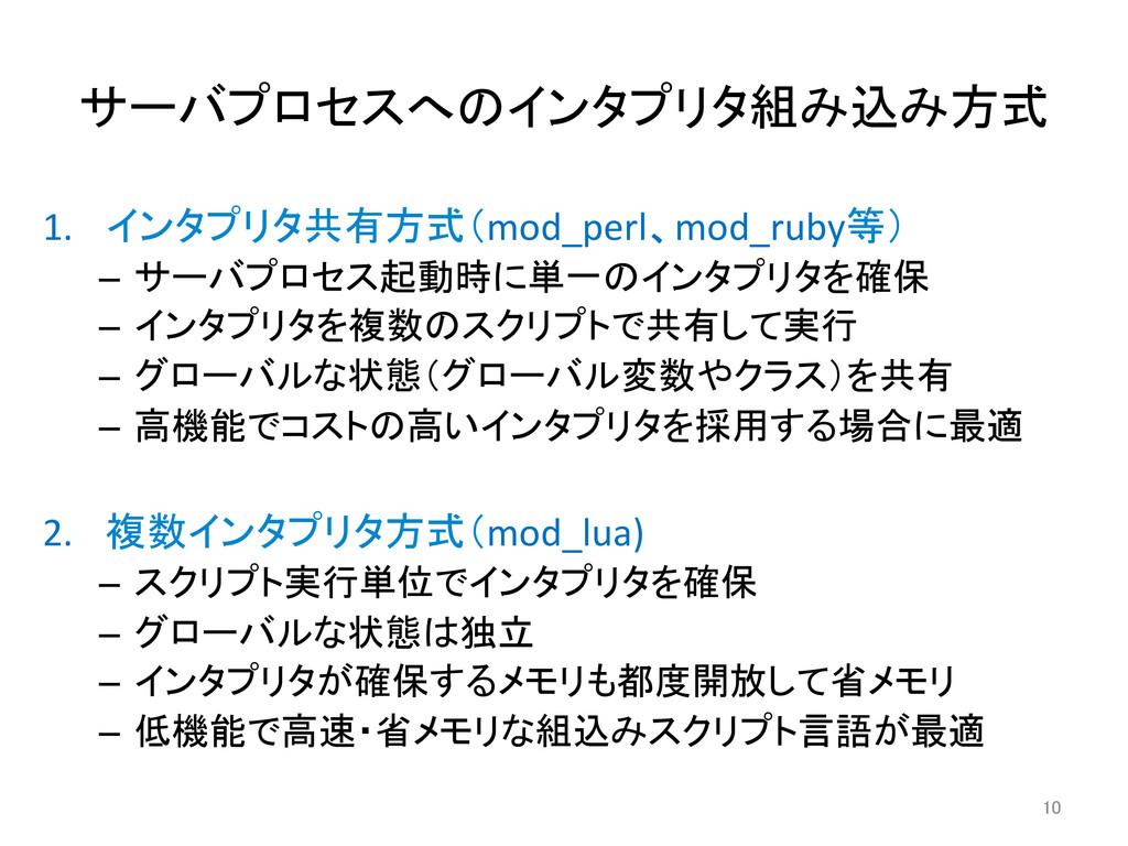 サーバプロセスへのインタプリタ組み込み方式 1. インタプリタ共有方式(mod_perl...