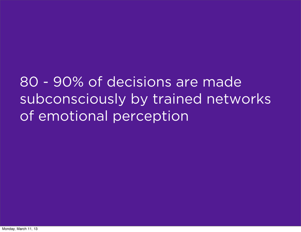 80 - 90% of decisions are made subconsciously b...