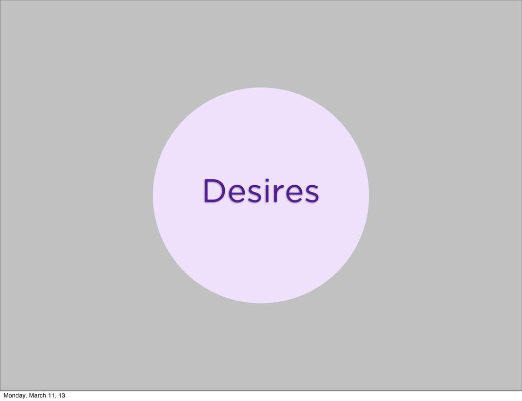 Desires Monday, March 11, 13