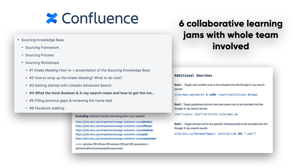 D 6 collaborative learning jams with whole team...