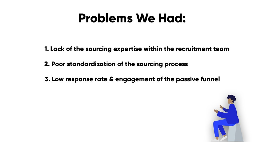 Problems We Had: 1. Lack of the sourcing expert...