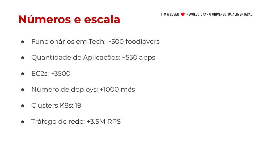 Números e escala ● Funcionários em Tech: ~500 f...
