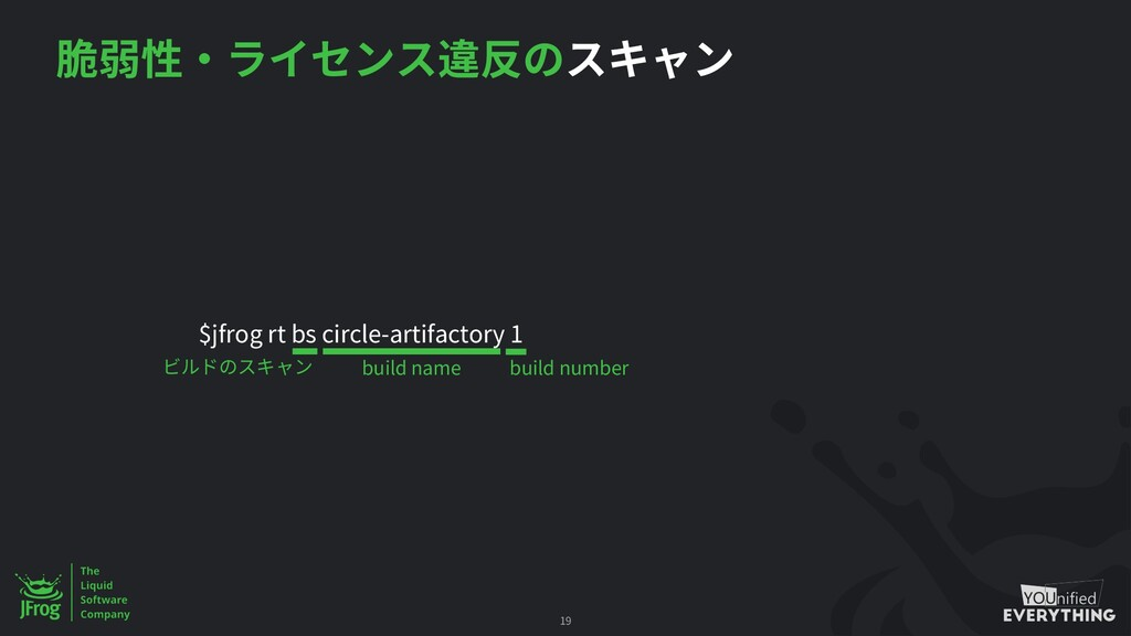 $jfrog rt bs circle-artifactory 1 19 build name...