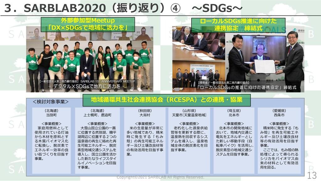 14 外部参加型Meetup 「DX×SDGsで地域に活力を」 <検討対象事業> (北海道) ...