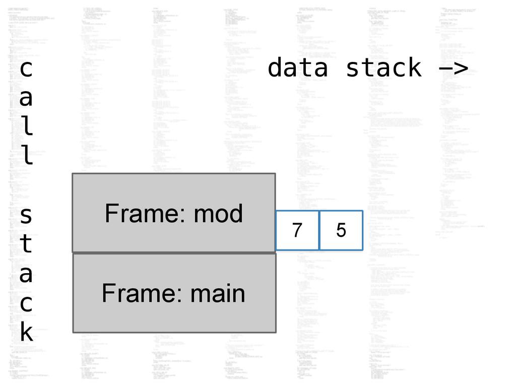c data stack -> a l l s t a c k Frame: main Fra...