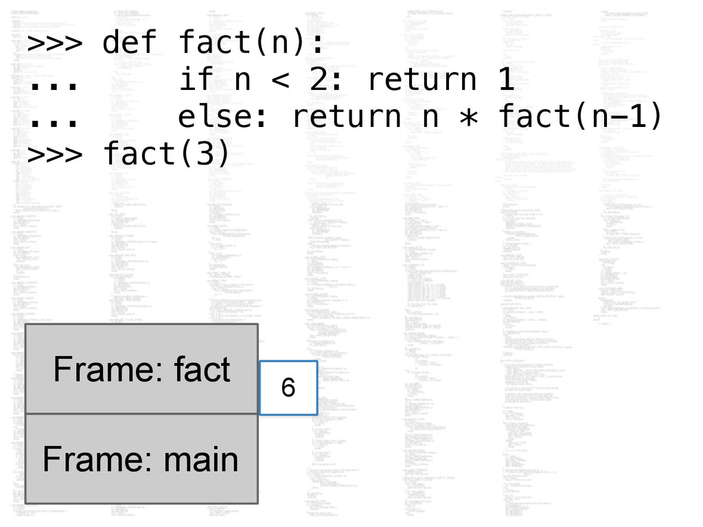 Frame: main Frame: fact 6 >>> def fact(n): ... ...