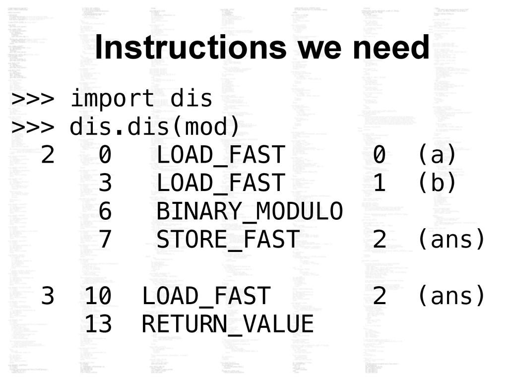 >>> import dis >>> dis.dis(mod) 2 0 LOAD_FAST 0...