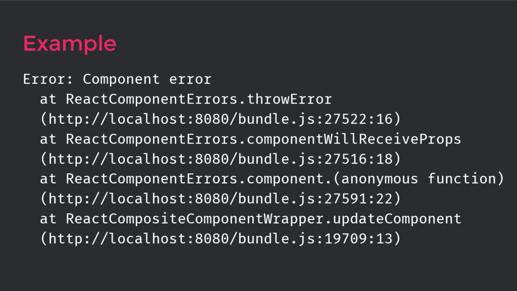 Example Error: Component error at ReactComponen...