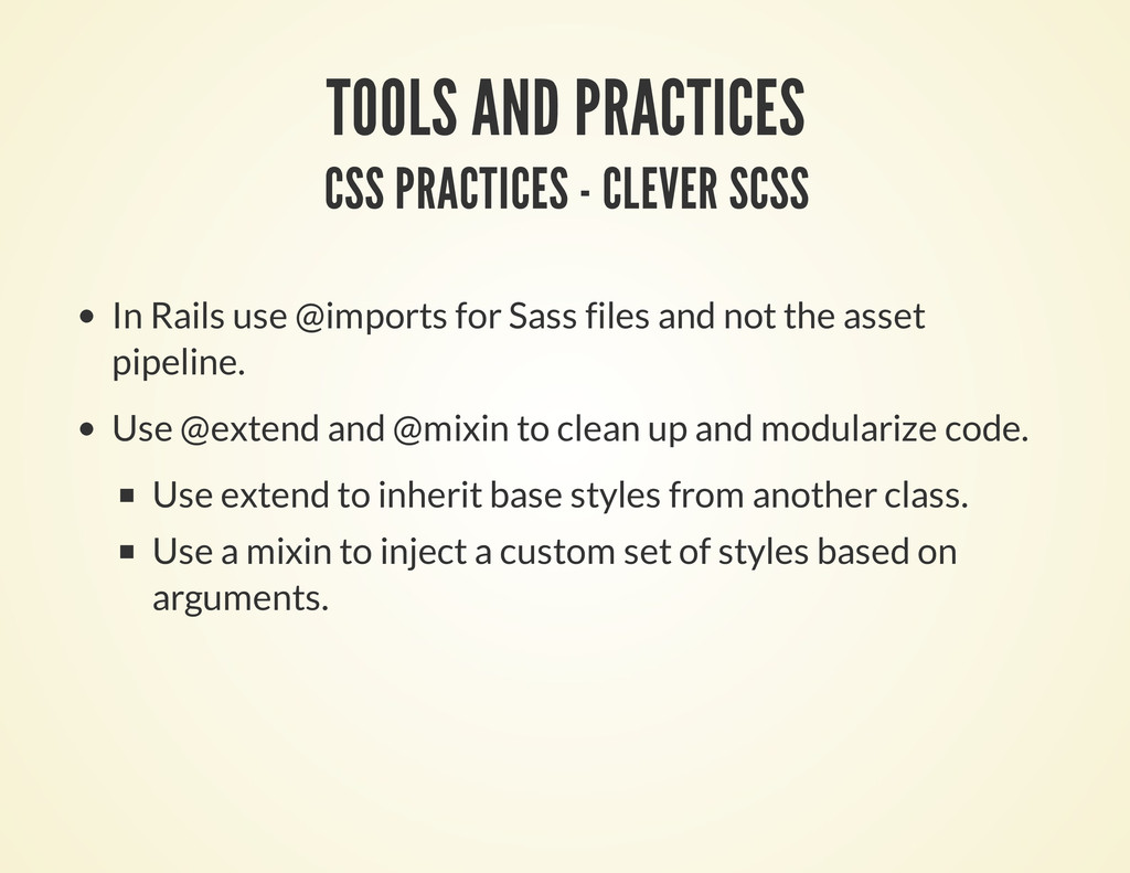TOOLS AND PRACTICES CSS PRACTICES - CLEVER SCSS...