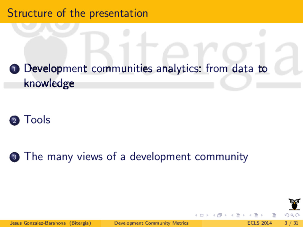 Structure of the presentation 1 Development com...