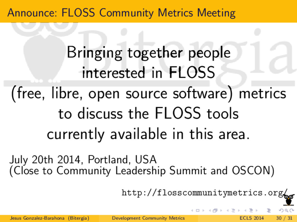Announce: FLOSS Community Metrics Meeting Bring...