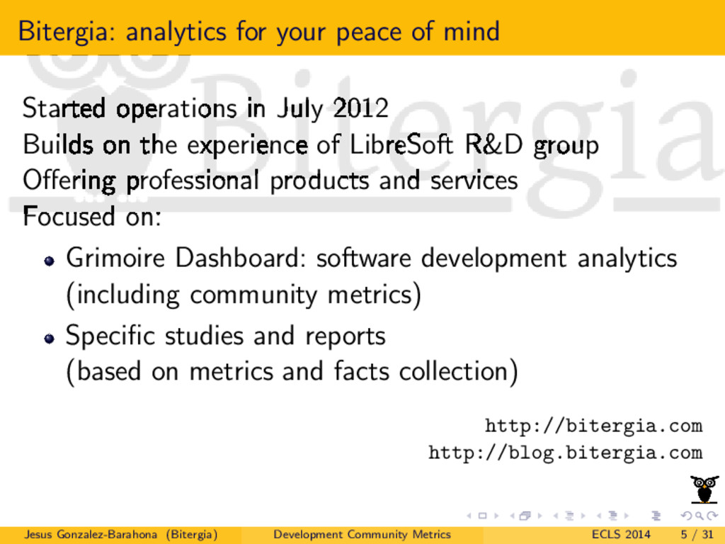 Bitergia: analytics for your peace of mind Star...