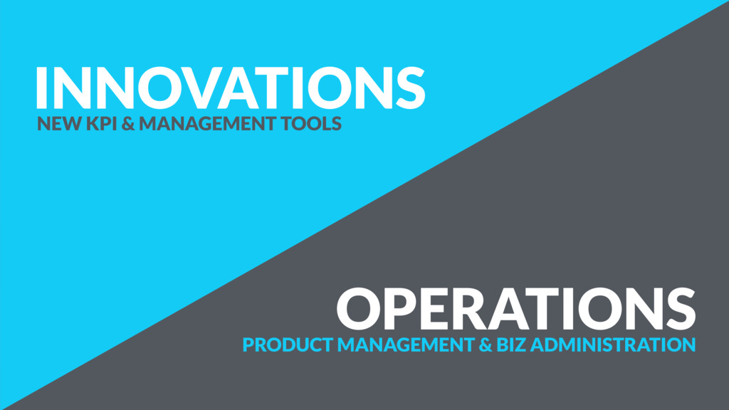 OPERATIONS INNOVATIONS NEW KPI & MANAGEMENT TOO...