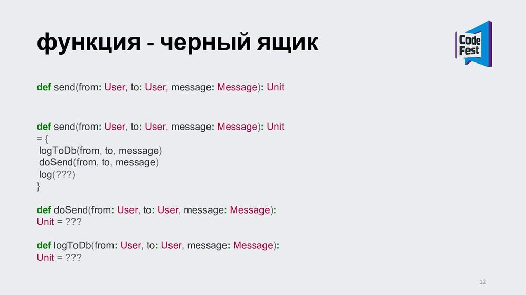 функция - черный ящик def send(from: User, to: ...