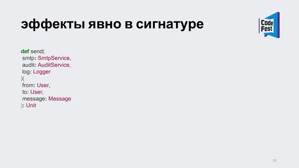 эффекты явно в сигнатуре def send( smtp: SmtpSe...
