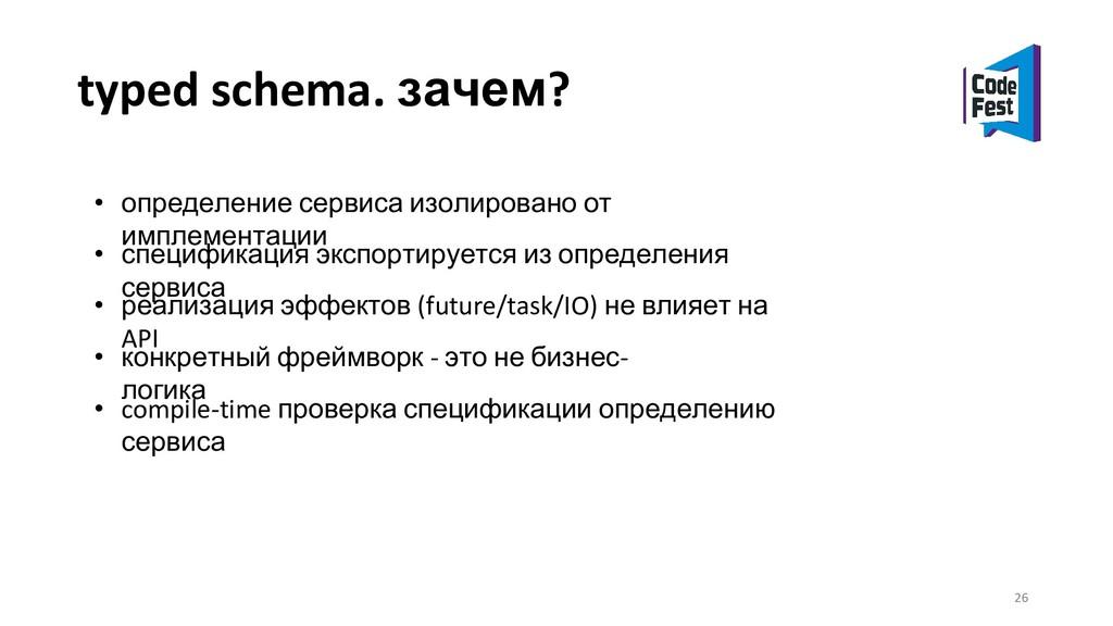 typed schema. зачем? • определение сервиса изол...