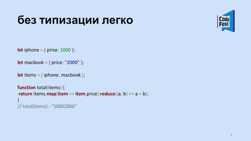 без типизации легко let iphone = { price: 1000 ...
