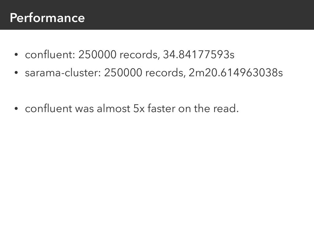 Performance • confluent: 250000 records, 34.8417...