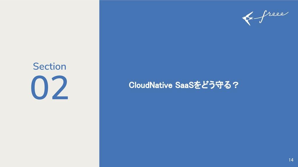 02 CloudNative SaaSをどう守る? 14 Section
