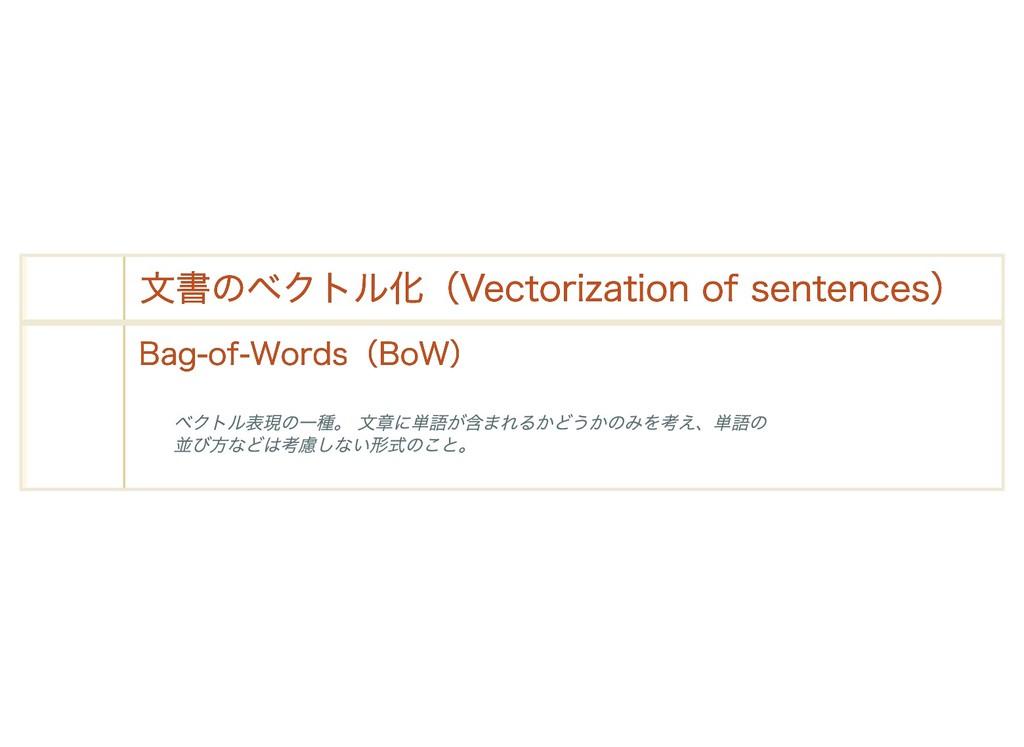 文書のベクトル化(Vectorization of sentences) 文書のベクトル化(V...
