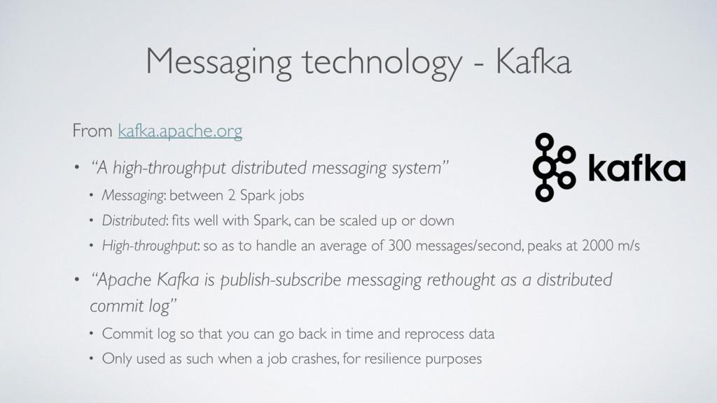 Messaging technology - Kafka From kafka.apache....