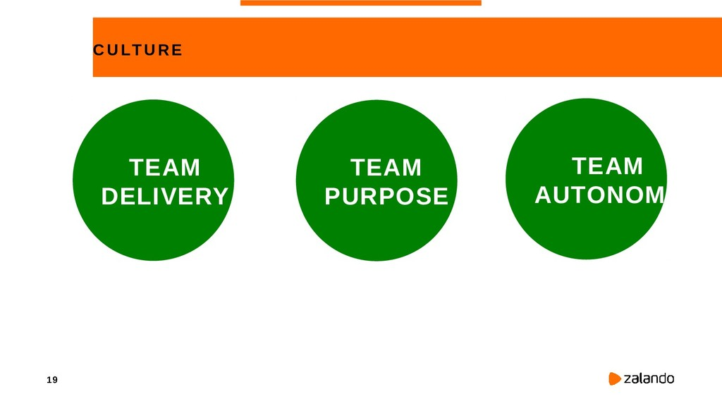 19 CULTURE TEAM PURPOSE TEAM AUTONOMY TEAM DELI...