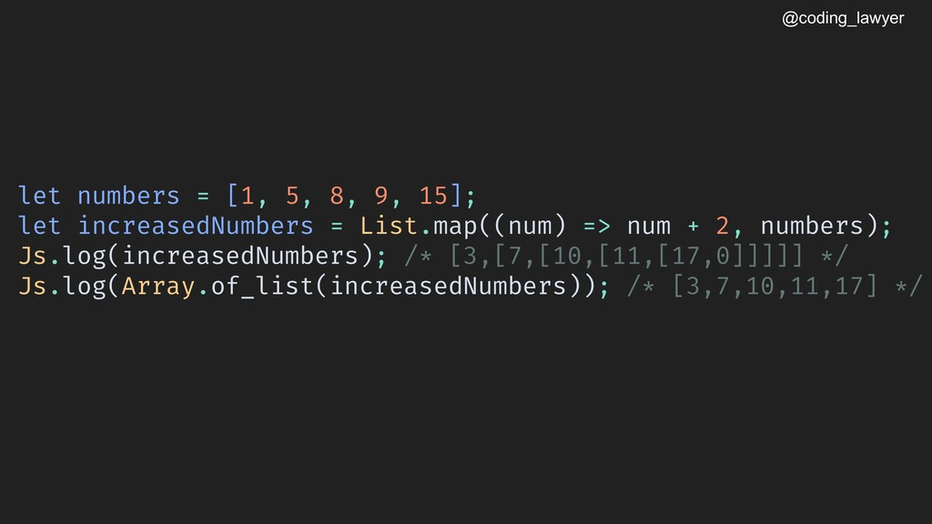 @coding_lawyer let numbers = [1, 5, 8, 9, 15]; ...