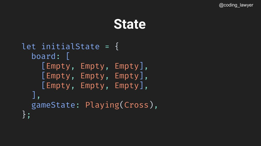@coding_lawyer State let initialState = { board...