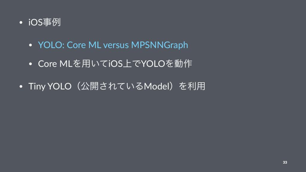 • iOSྫ • YOLO: Core ML versus MPSNNGraph • Cor...