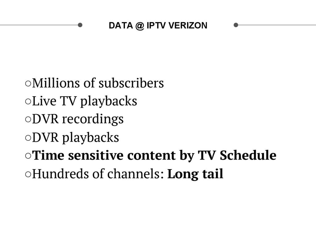 DATA @ IPTV VERIZON ○Millions of subscribers ○...