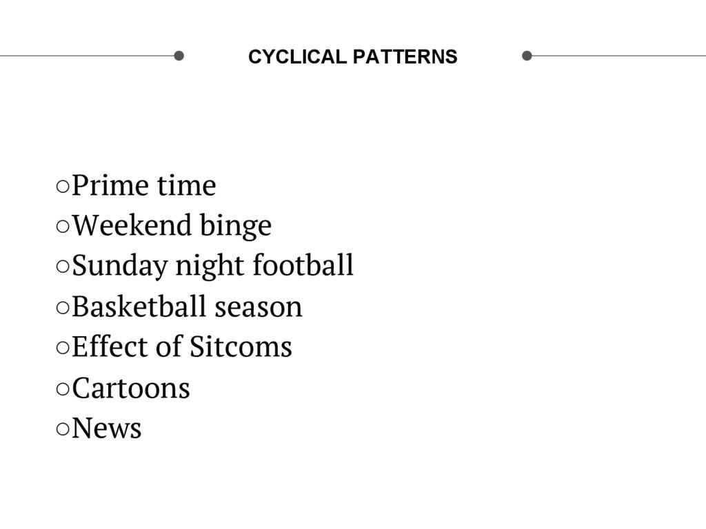 CYCLICAL PATTERNS ○Prime time ○Weekend binge ...