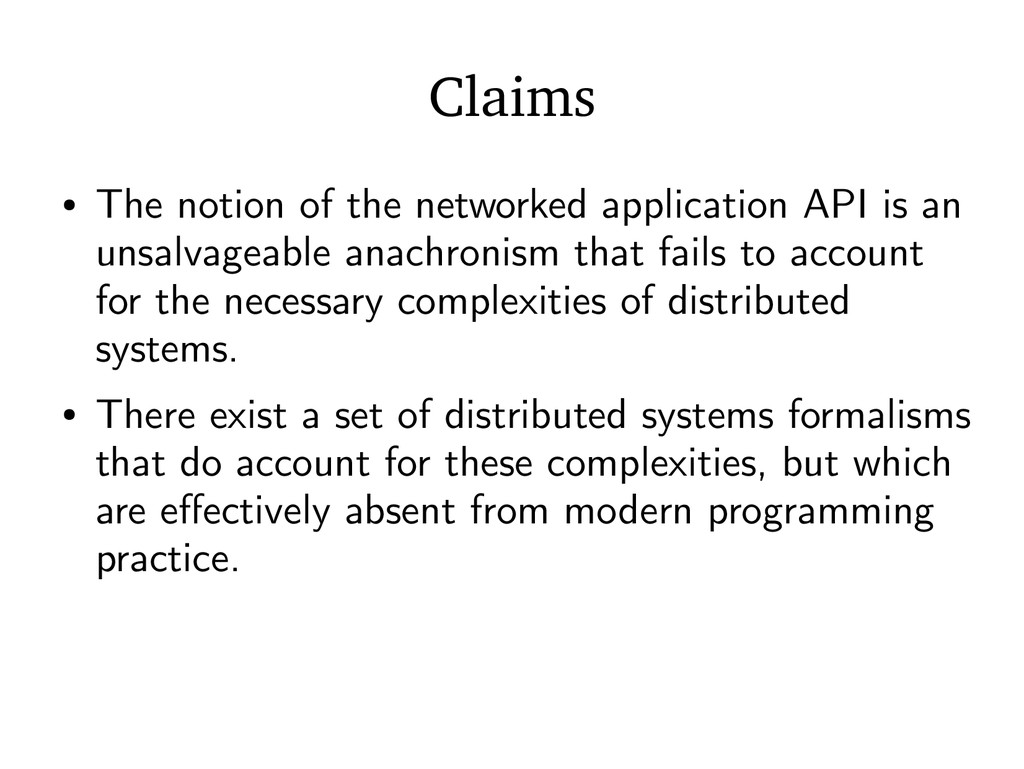 Claims ● The notion of the networked applicatio...