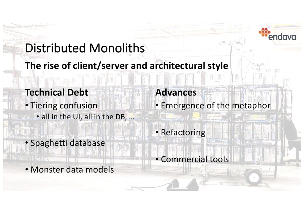 Distributed Monoliths Technical Debt • Tiering ...