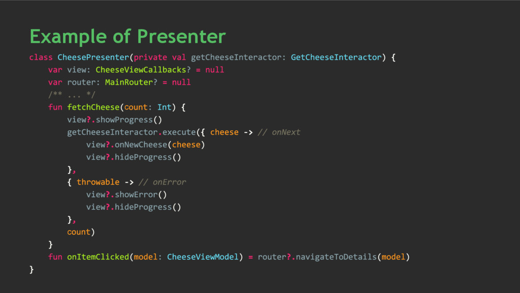 с с Example of Presenter