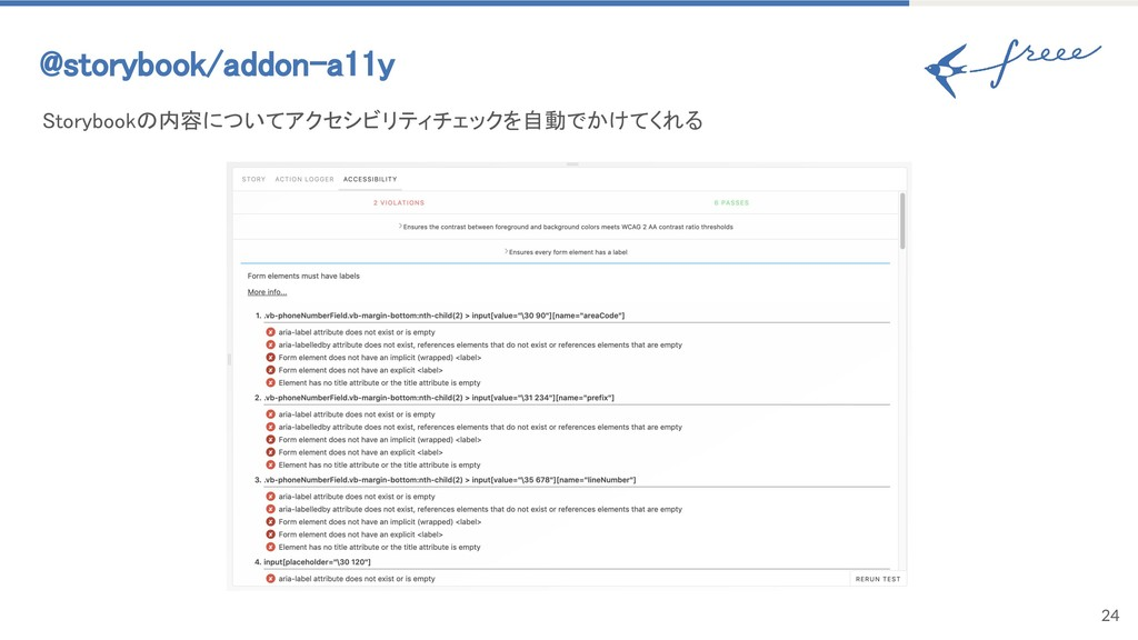 24 @storybook/addon-a11y Storybookの内容についてアクセシビ...