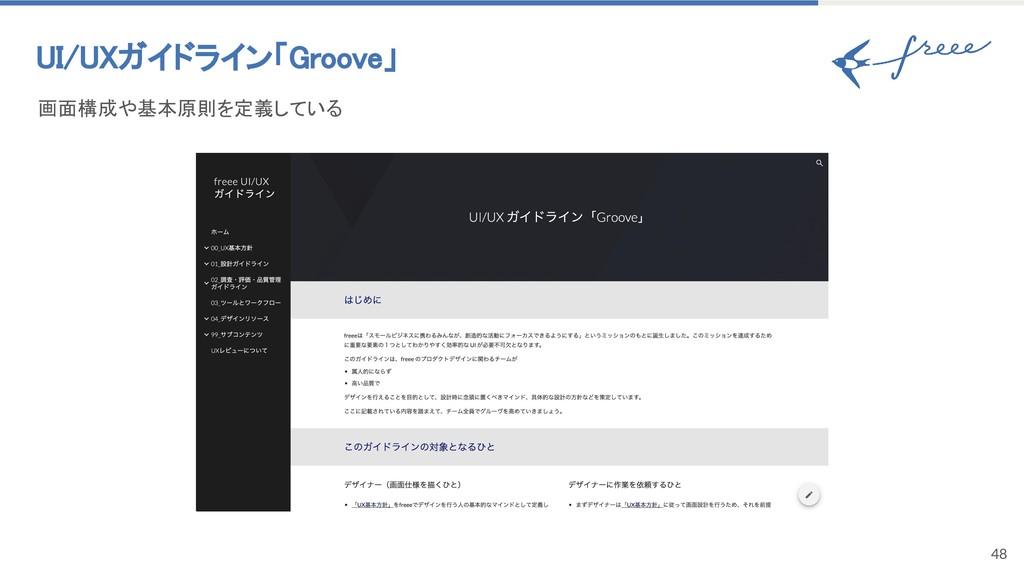 48 UI/UXガイドライン「Groove」 画面構成や基本原則を定義している