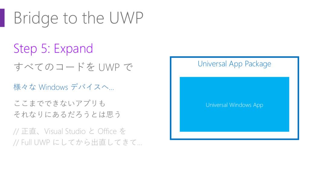 Bridge to the UWP Step 5: Expand すべてのコードを UWP で...
