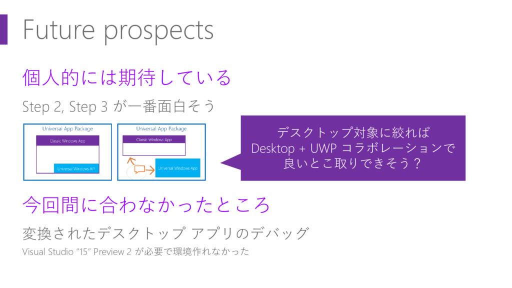 Future prospects 個人的には期待している Step 2, Step 3 が一番...
